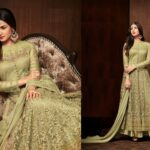 Dull Green Colored Party Wear Semi Stitched Net Anarkali Style Net Salwar Suit For Women-CN995-D