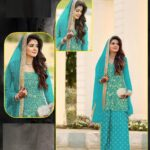 Glorious Blue Colored Party Wear Women's Semi Stitched Net Embroidered Punjabi Salwar Suit-IN19-5