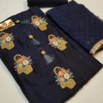 Exclusive Dark Blue Colored Party Wear Glace Cotton With Embroidery Work Salwar kameez For Women -SN39-4