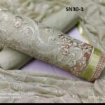 Gray Colored Exclusive Party Wear Cotton With Embroidery Work Salwar kameez For Women-SN30-1