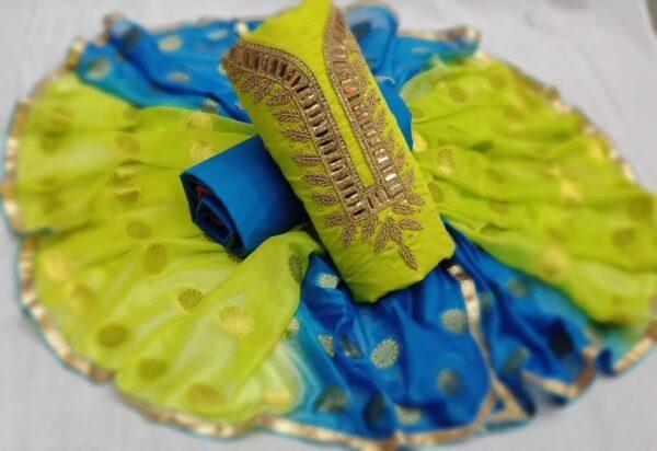 Perot And Blue Coloured Latest Designer Khatli Work Unstitched Chanderi Salwar Suit For Women-KM8-5