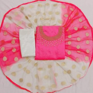 Baby Pink And White Astonishing Chanderi With Khatli Hand Work Unstitched Suits For Women-KM9-1