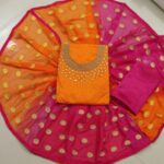 Orange And Pink Colored Chanderi With Best Quality Party Wear Salwar Suit For Women-KM9-11