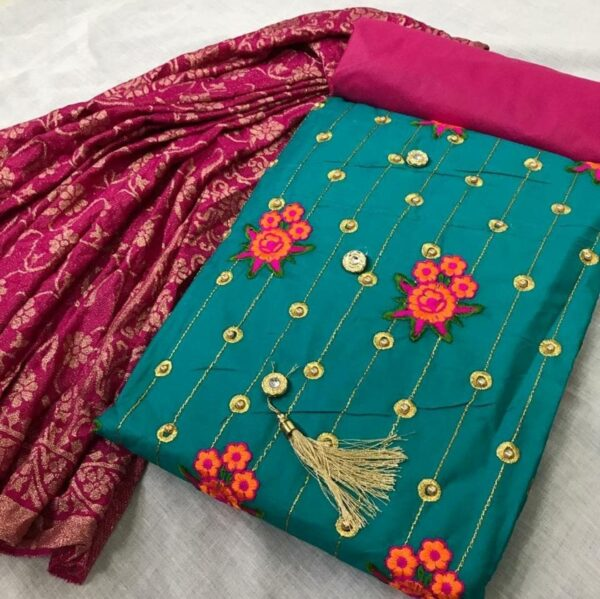 Green Colored Party Wear Embroidered Cotton Salwar Kameez For Women-DESIGNK86-1
