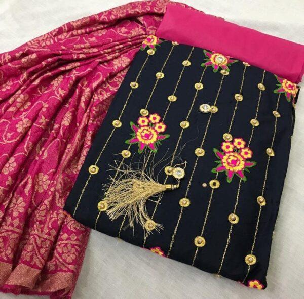 Black Colored Designer Emrboidered Pure Cotton Latest Salwar suit For Wormen-DESIGNK86-2