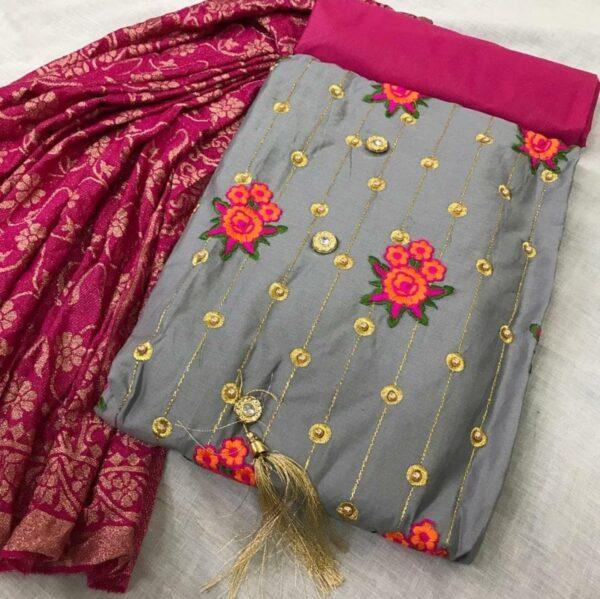 Grey Colored Function Wear Unstitched Cotton Party Wear Salwar Suit For Women-DESIGNK86-4