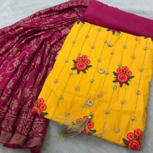 Yellow Colored Party Wear Cotton Embroidered New Salwar Kameez For Ladies-DESIGNK86-3