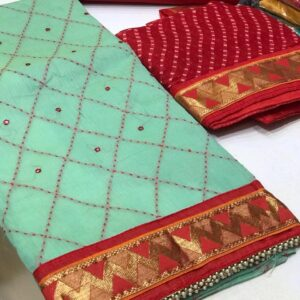 Sky Blue Coloured New Designer Chanderi Full Miror Work Unstitched salwar Suit With Dupatta For Women-SN40-2