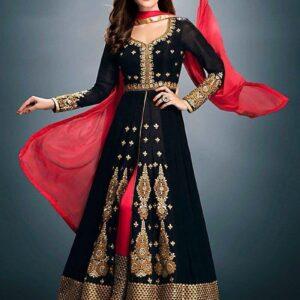 Fashion Ind Black Designer Georgette Salwar Suit