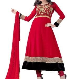 Fashion Ind Red Georgette Festival Wear Salwar Suit