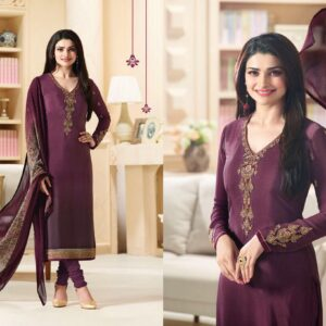 Fashion Ind Party Wear Straight Cut Crepe  Suit