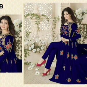 Fashion Ind Anarkali Style Blue Georgette Embroidered Suit