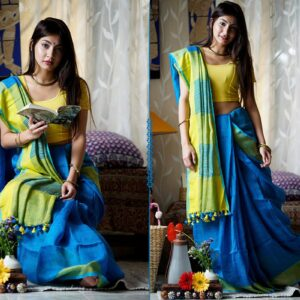 Pleasing Neon Blue Premium Linen Saree