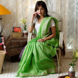 Engrossing Green Pure Linen Designer Saree For Women