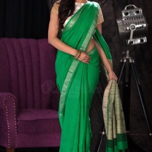 Charming Green Premium Linen Party Wear Printed Saree For Women