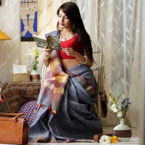 Exotic Dark Grey Premium Linen Party Wear Designer Saree For Women