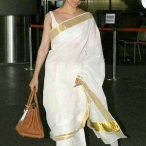 Kangana Ranaut Special White And Gold Pure Linen Designer Bollywood Saree