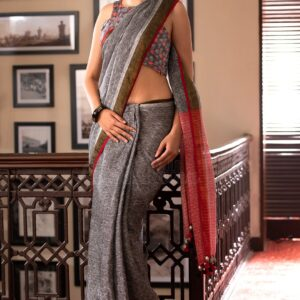 Classic Grey Colored Casual Wear Printed Linen Saree