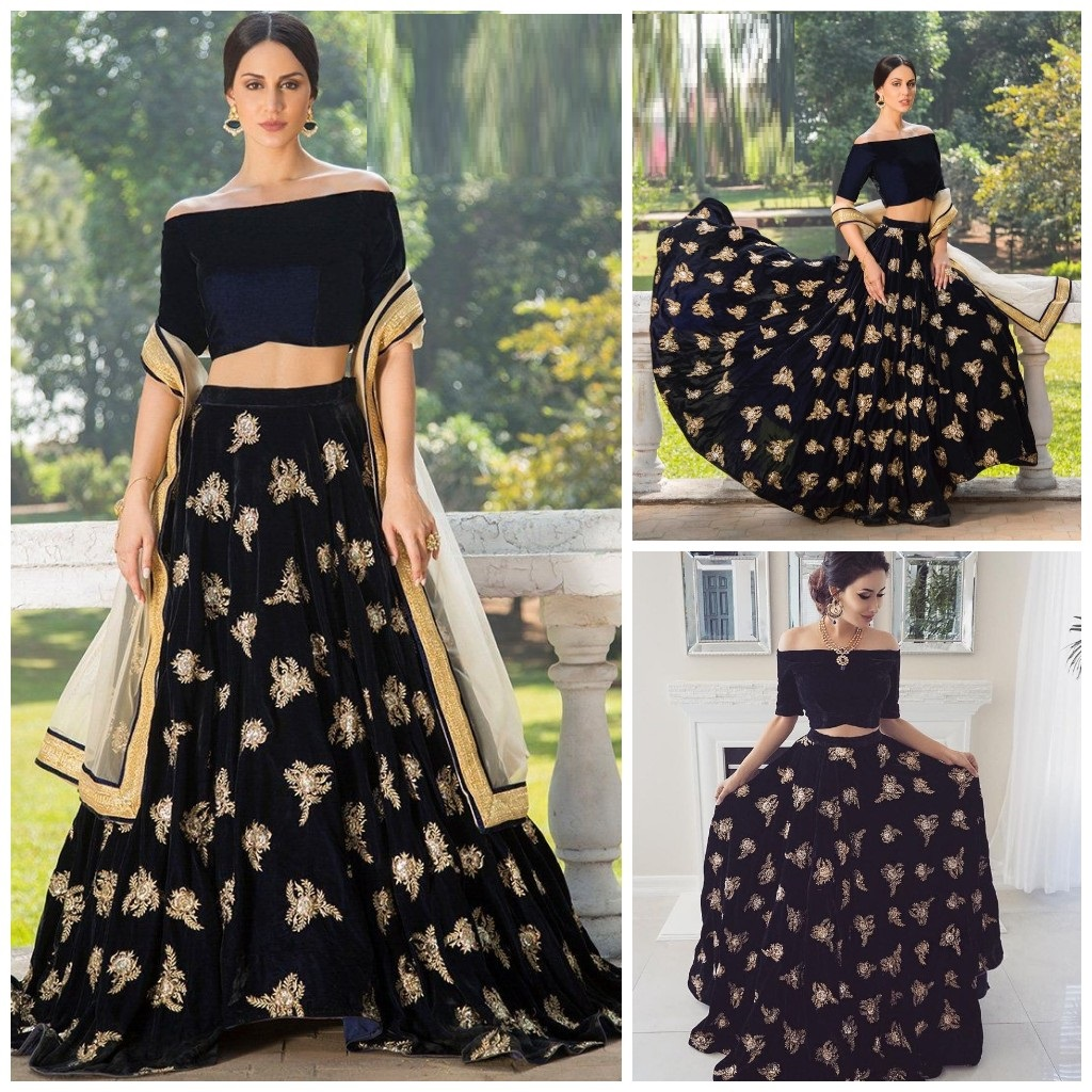 Buy Black Colored Designer Party Wear Semi Stitched Velvet Lehenga Choli For Women Rc108 Fashion Clothing