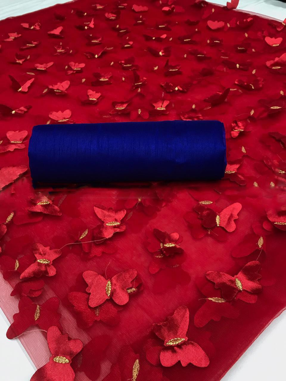 Attractive Red Color Mono Net with Cutting Butterfly Work Saree