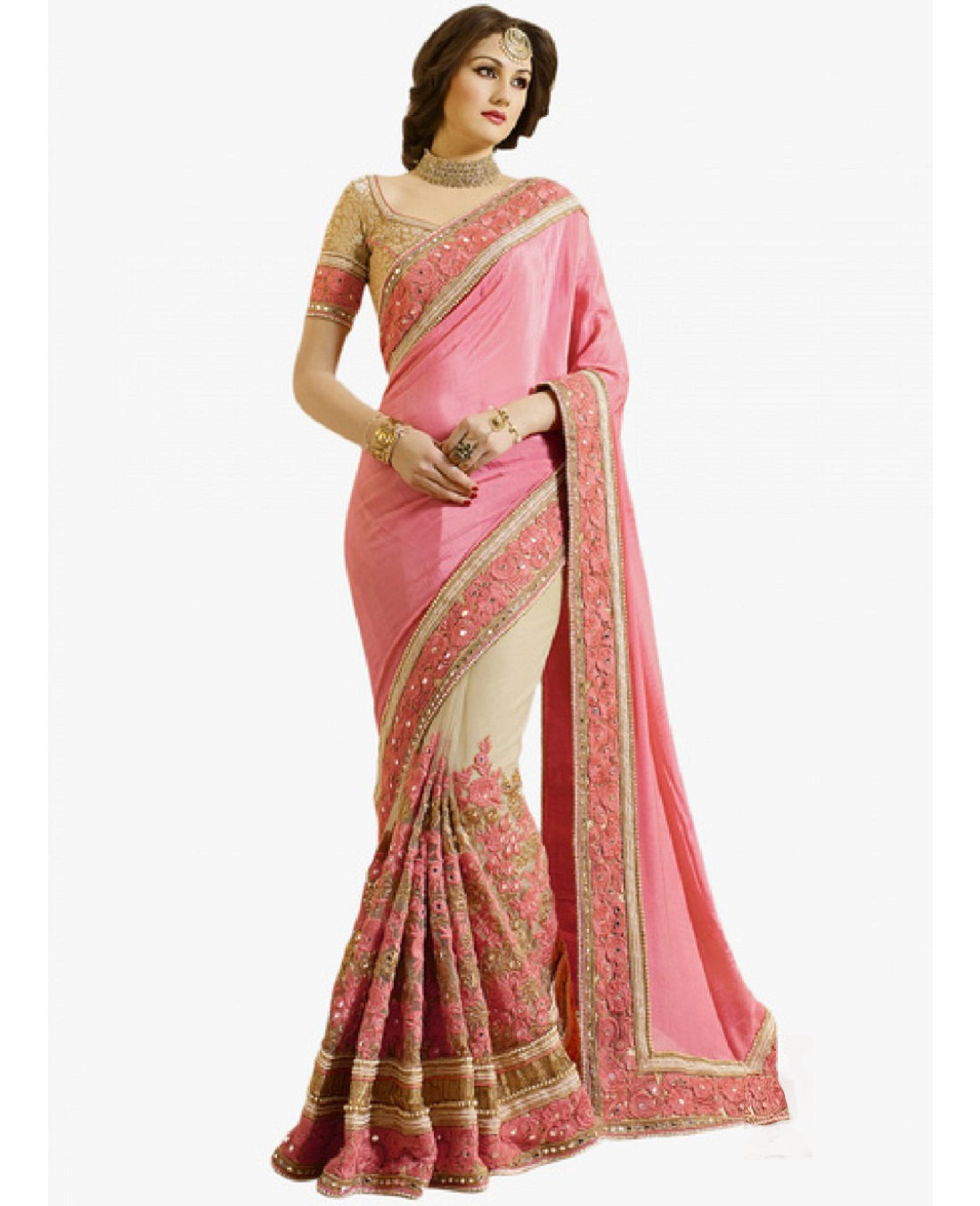 TredtionalWear New Gold And Pink Net With Embroidered Work Saree