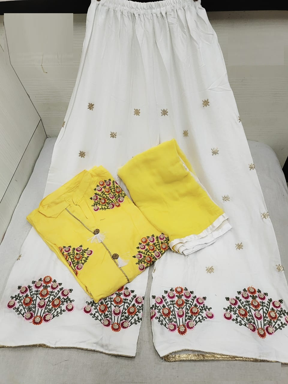 Yellow Color Embroidered Rayon Stitched Kurta with Plazo