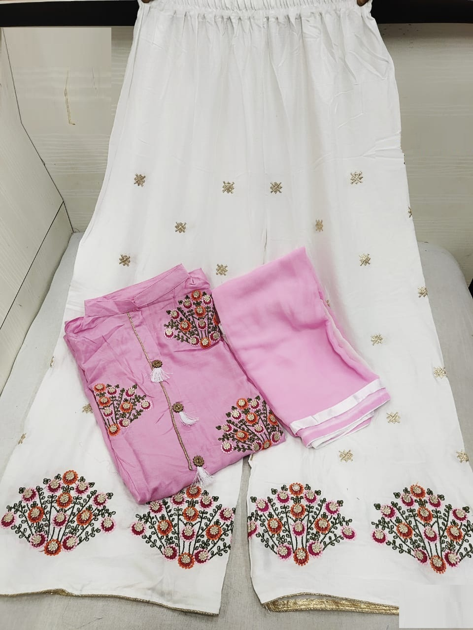Light Pink Color Embroidered Rayon Stitched Kurta with Plazo