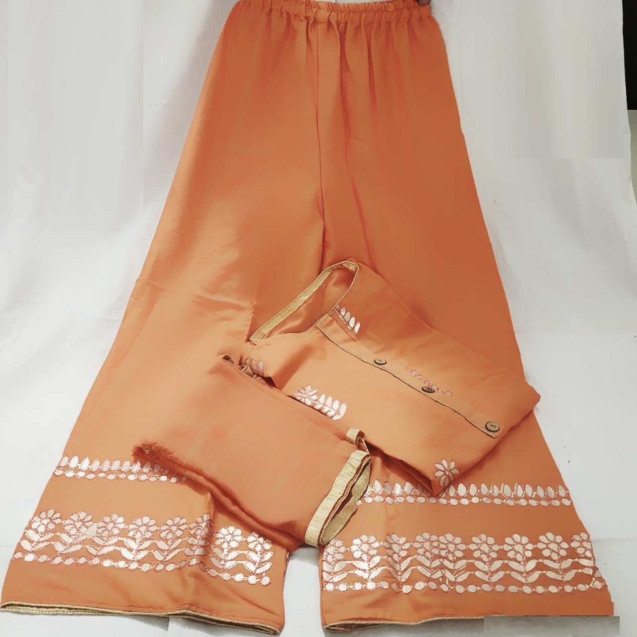 Orange Color Rayon Stitched Plazo with Kurta For wear in Party (1)