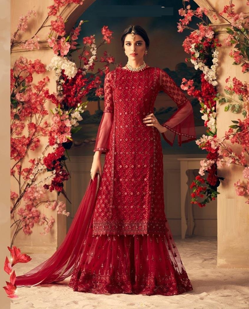 PartyWear Maroon Colour Net With Embroidered Semi-Stitched Plazoo Suit Meterial