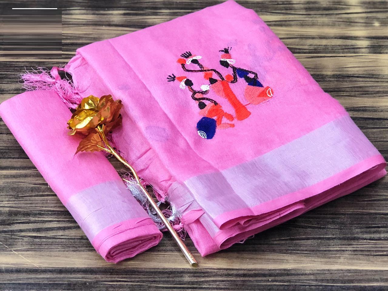 Function Wear Pink Colour  Linen Cotton Saree