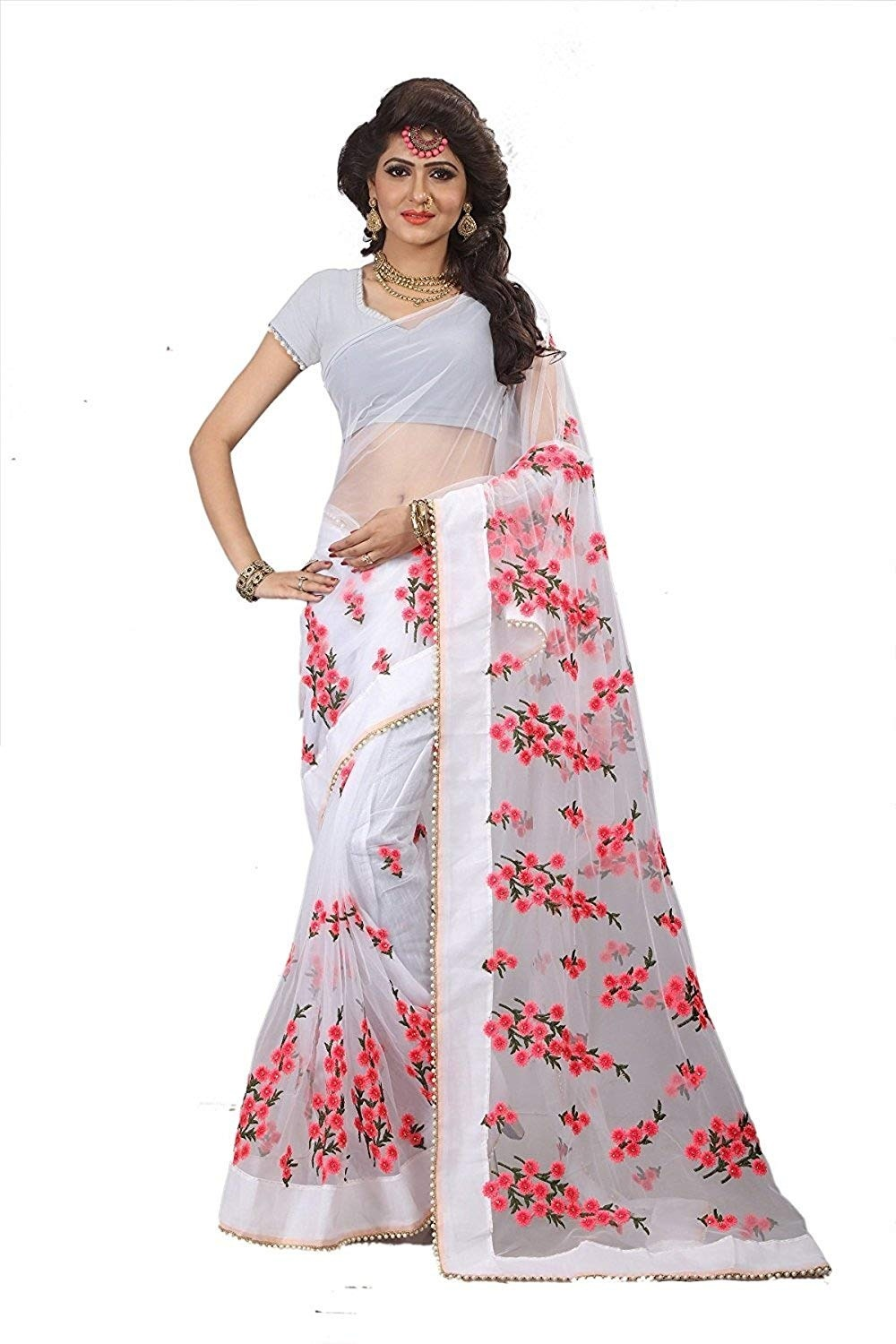 Party Wear White  Net Embroidered Work Saree