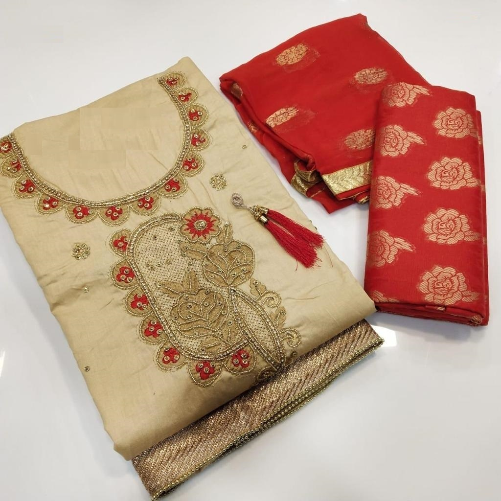 Cream and Red Cotton Salwar Suit Material For Fashionable Women