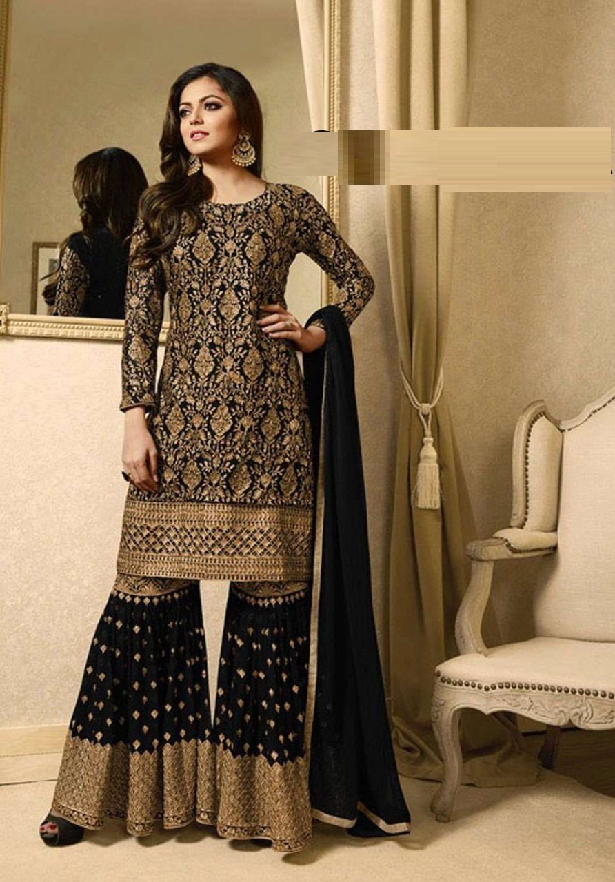 Wedding Wear Black Faux Georgette with Embroidry Work Plazo Sharara Suit