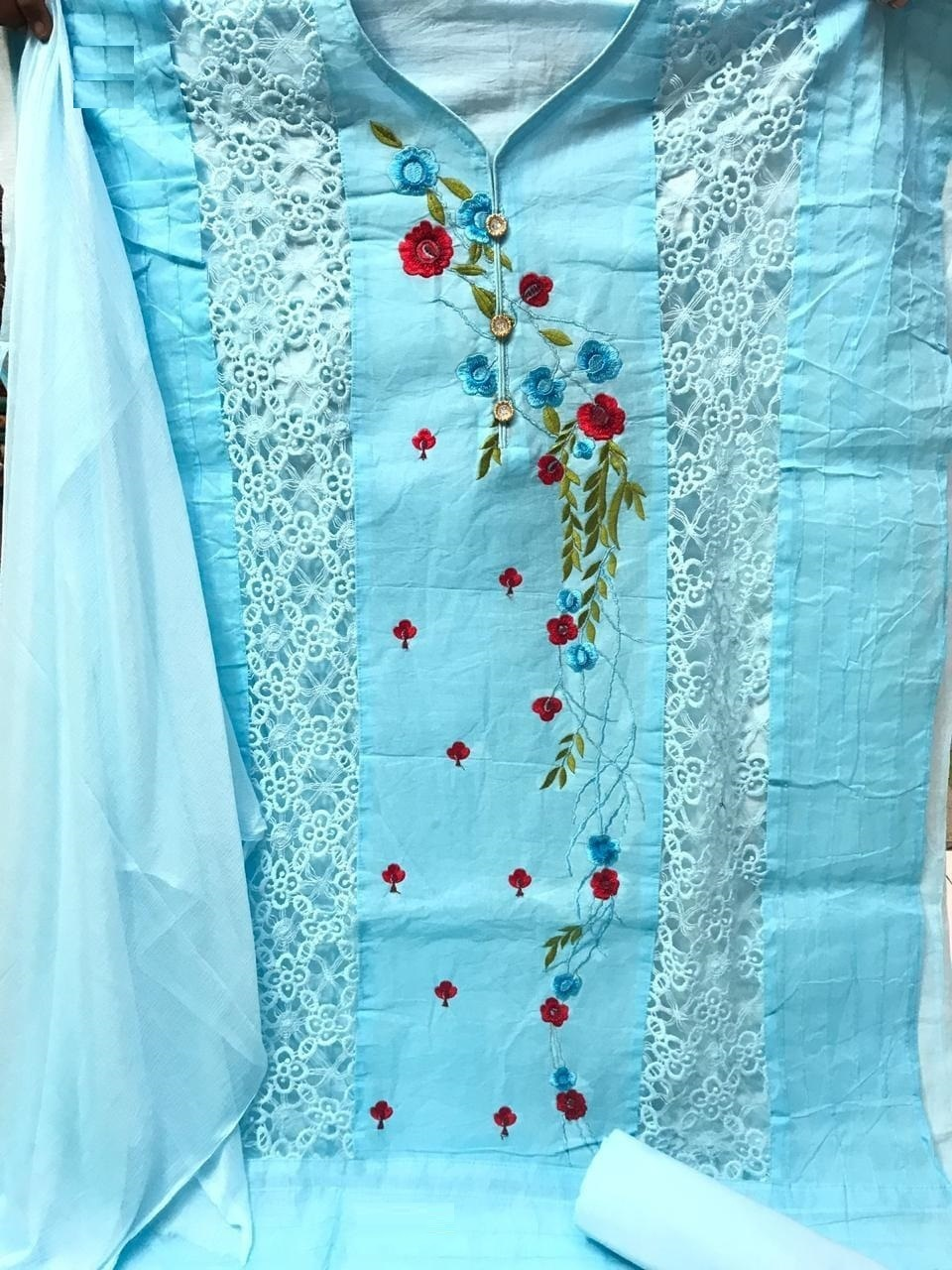Firozi Cotton Embroidered Dress Material_4 colors available