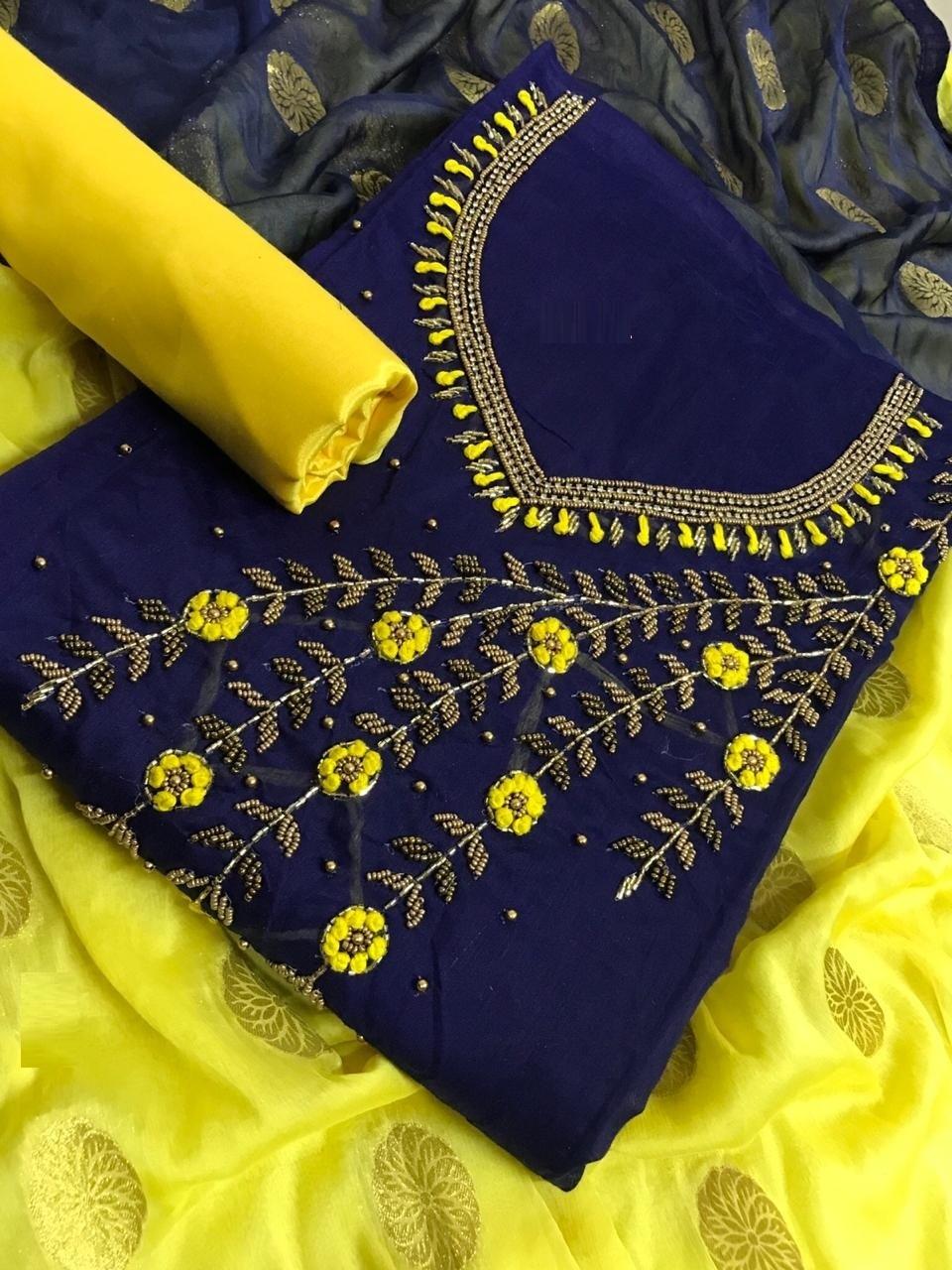 Latest Navy Blue Chanderi Silk Handwork Dress Material for Trendy Lady