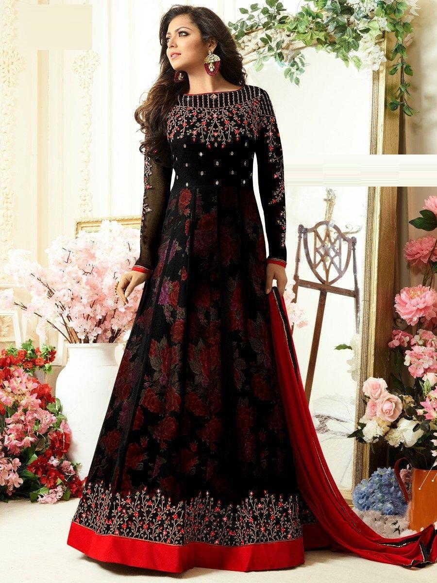 EthanicWear Black Georgette Embroidered Work Semi-Stitched Anarkali Salwar Suit