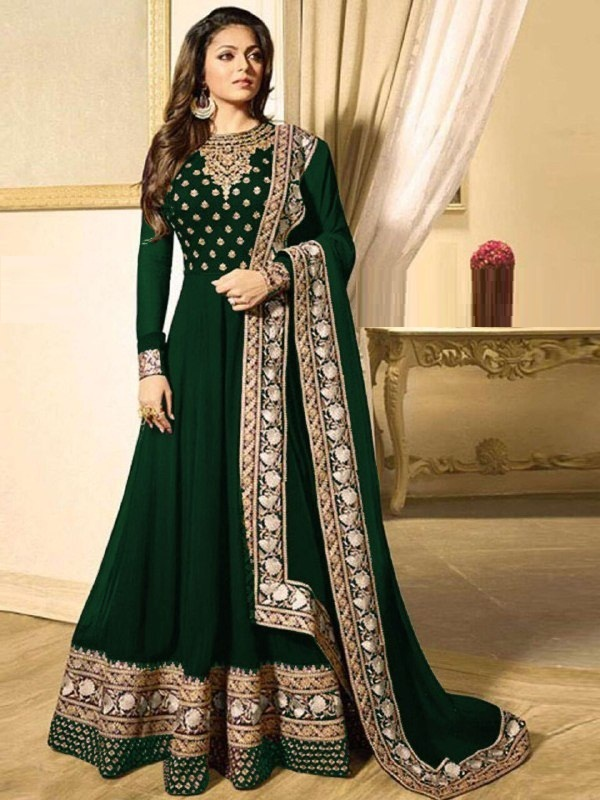 Party Wear Green Faux Georgette Embroidered Work Semi-Stitched Anarkali Salwar Suit