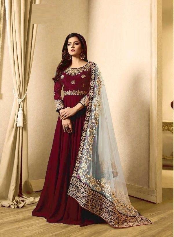 Indian Wear Maroon Faux Georgette Embroidered Work Anarkali Salwar Suit