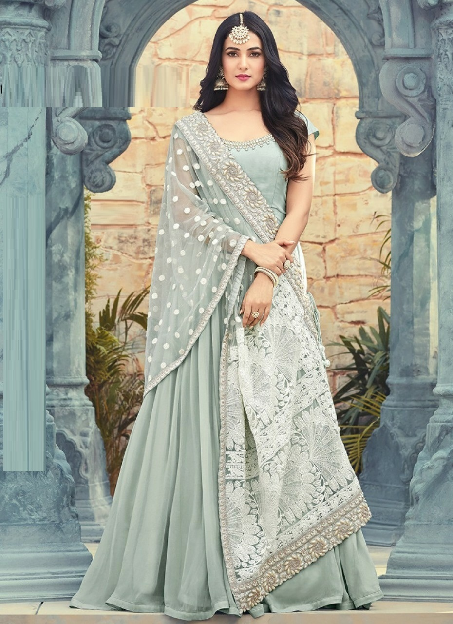 Function Wear New Wisteria Color Faux Georgette Embroidered Work Anarkali Salwar Suit