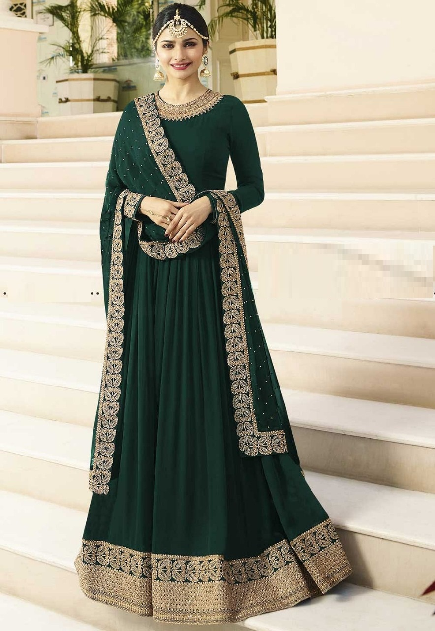 New Green Faux Georgette Embroidered Work Semi-Stitched Anarkali Salwar Suit