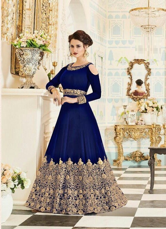Blue Faux Georgette Embroidered Work Semi-Stitched Anarkali Suit
