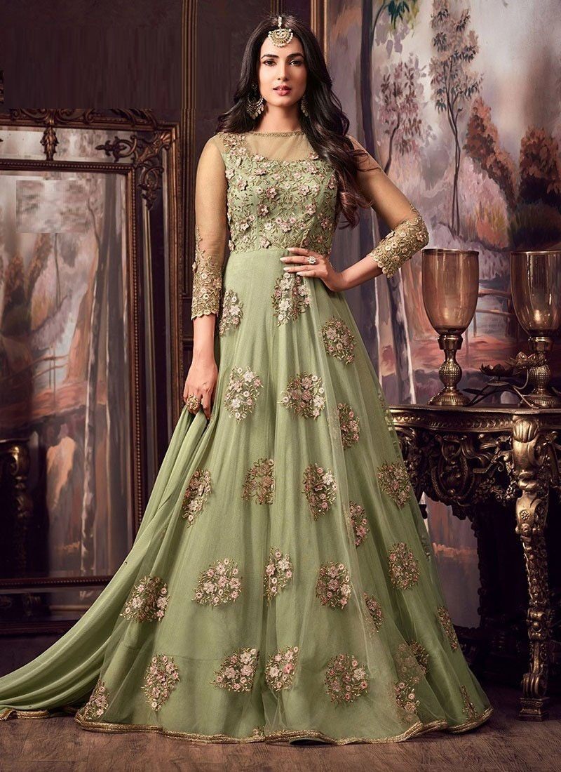Party Wear Pista Color Net with Heavy Embroidery Anarkali Dress