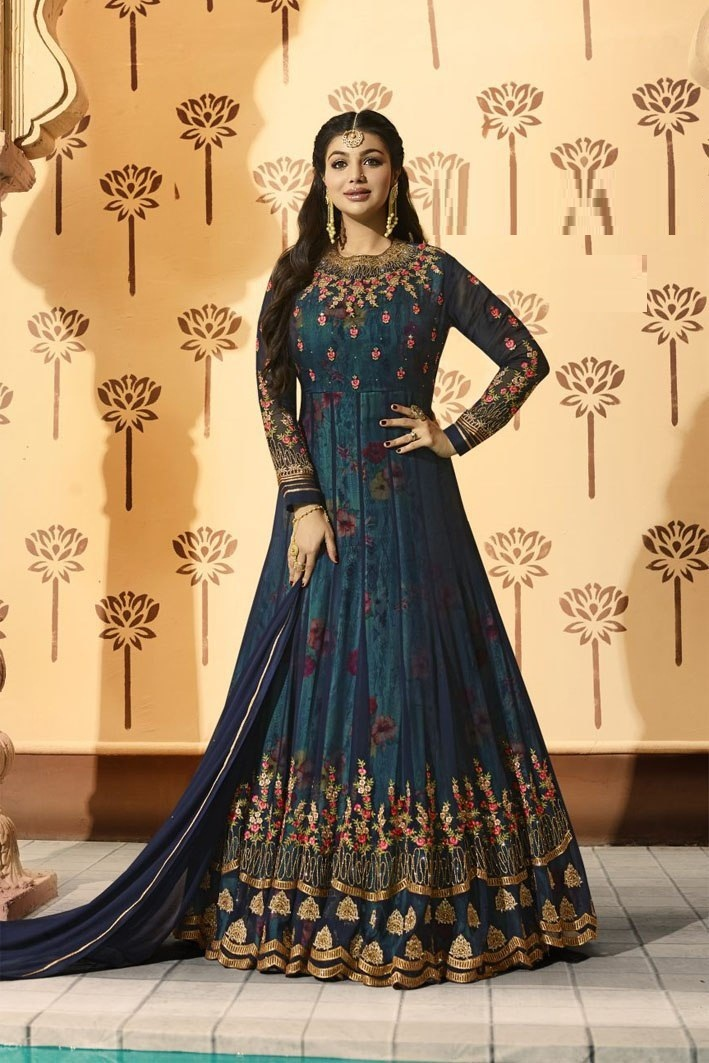 Wedding Wear Navy Blue Color Faux Georgette Anarkali Suit