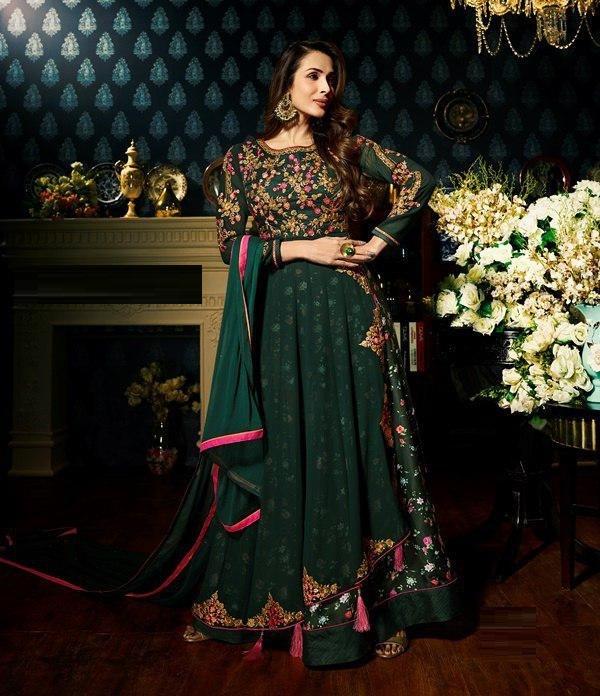 Malaika Arora Green Color Faux Georgette Anarkali Suit
