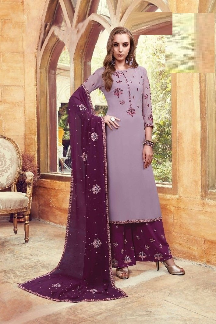 Party Wear Grey Color Georgette with Embroidery Straight Palazzo type Suit