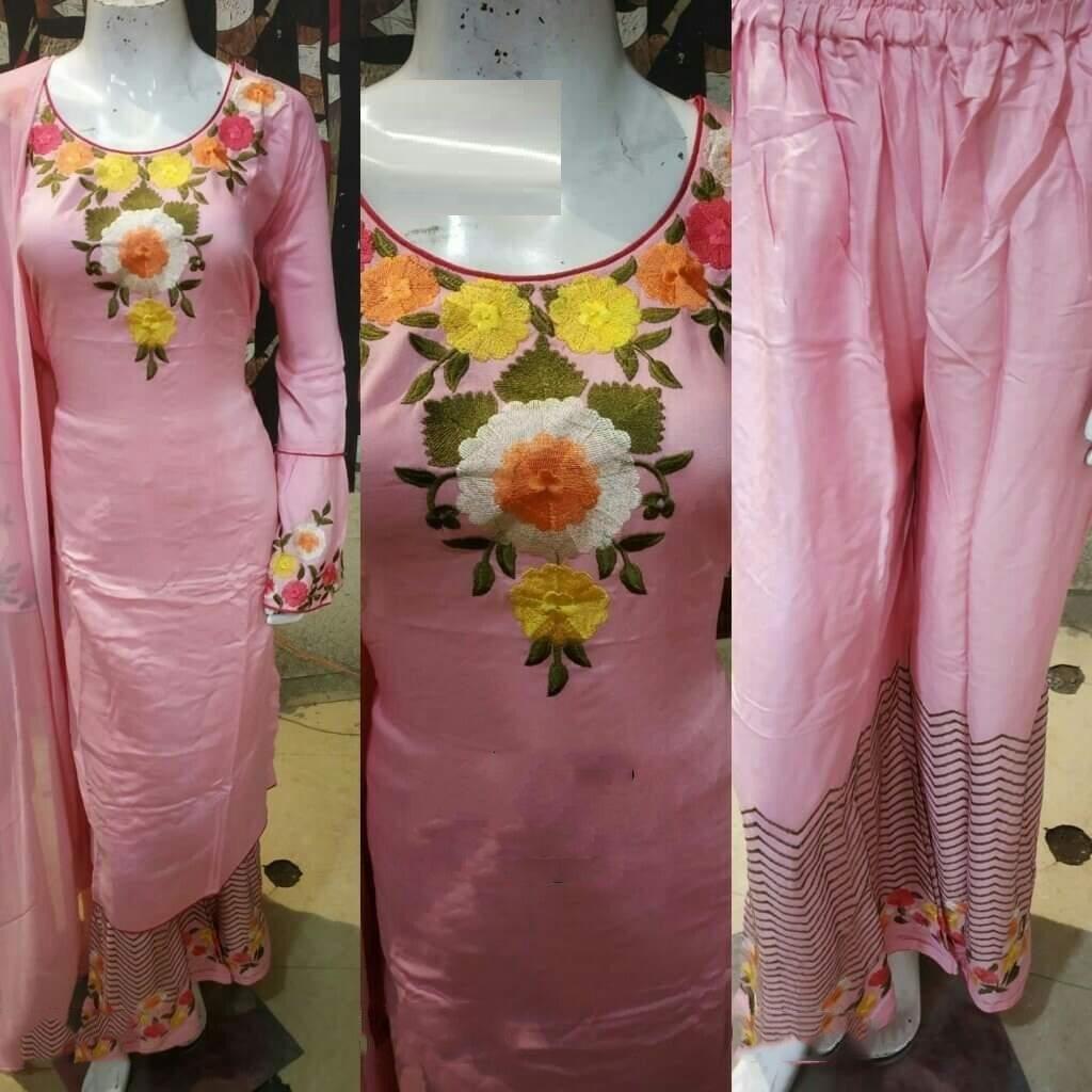 Light Pink color Readymade Rayon Embroidered Kurta with Plazo