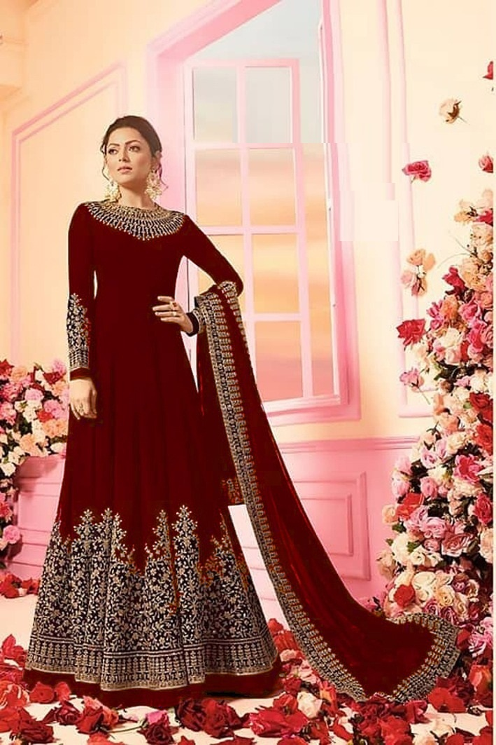 Maroon Color Faux Georgette Embroidered Semi-Stitched Anarkali Suit