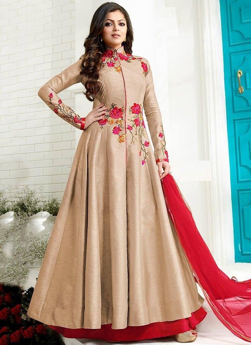 EthanicWear Cream Colour Silk  Embroidered Work Anarkali Salwar Suit