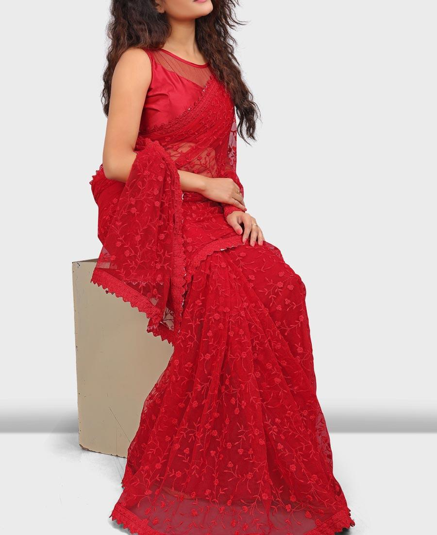Lusty Red Color Nylon Soft Net Thread Embroidered Saree For Stylish Women