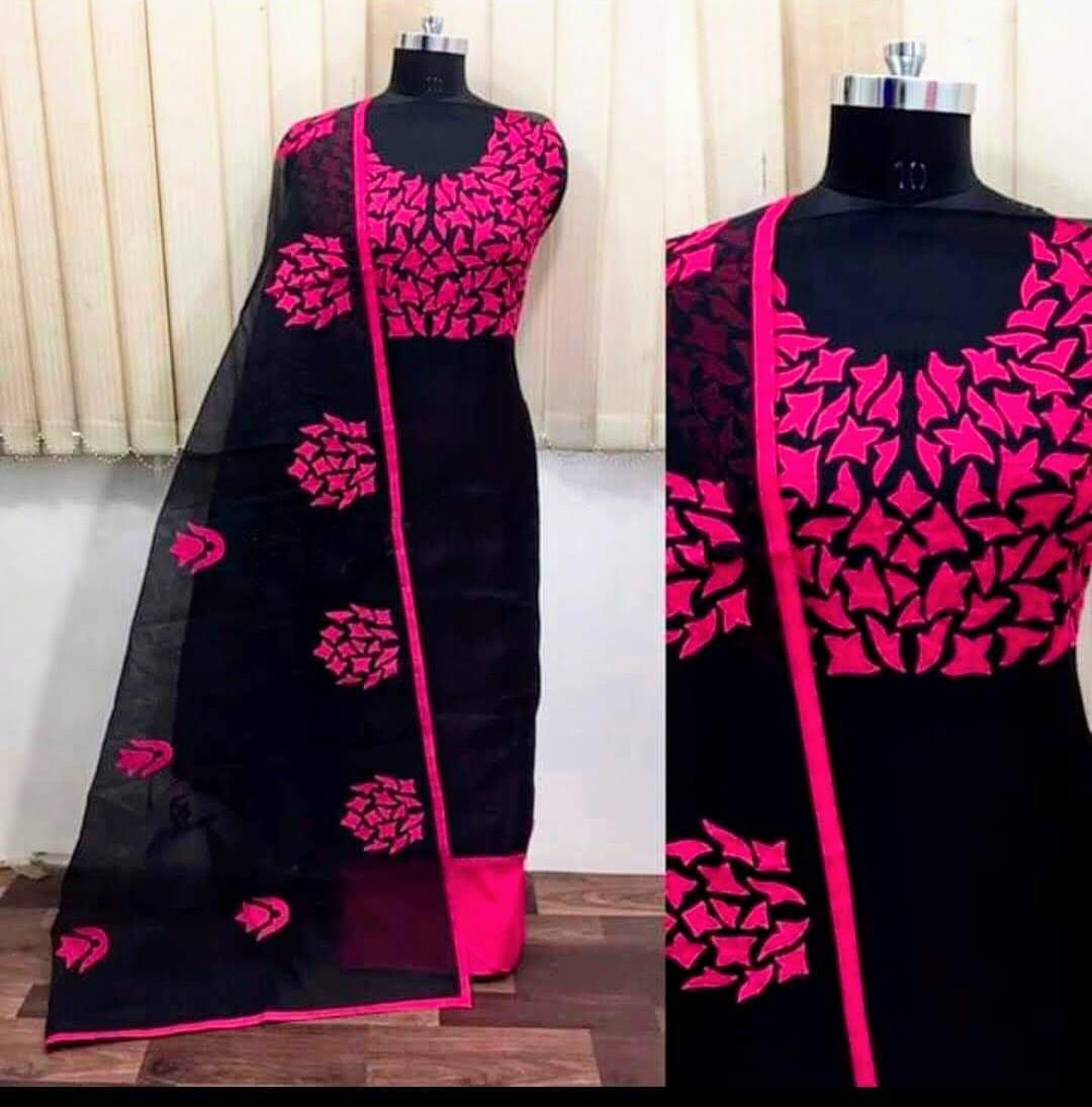 Gorgeous Black nd Pink Colored Semi model Dress Material